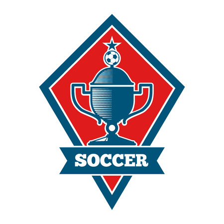 ready logos: Vector soccer logo, badge, emblem template in red and blue. Football banner for competition game illustration Illustration