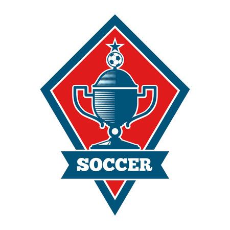 Vector soccer logo, badge, emblem template in red and blue. Football banner for competition game illustration Illustration