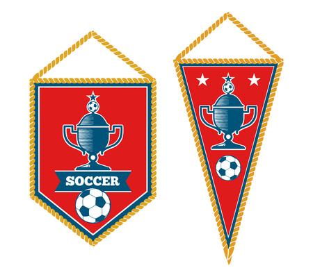 team sports: Conjunto de banderines de fútbol aislado más de blanco. Torneo de fútbol de la bandera, ilustración vectorial Vectores