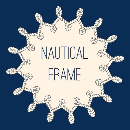 navy blue background: Intertwined nautical ropes frame over navy blue background. Vector illustration