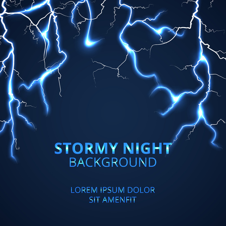 striking: Stormy night with striking lightnings background. Electricity power and bright energy, vector illustration