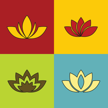 butterfly stroke: Color flowers with black stroke on color background. Set of colored floral element. Vector illustration