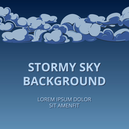 stormy clouds: Stormy sky and clouds background woth room for text. Beautiful clouds environment, vector illustration