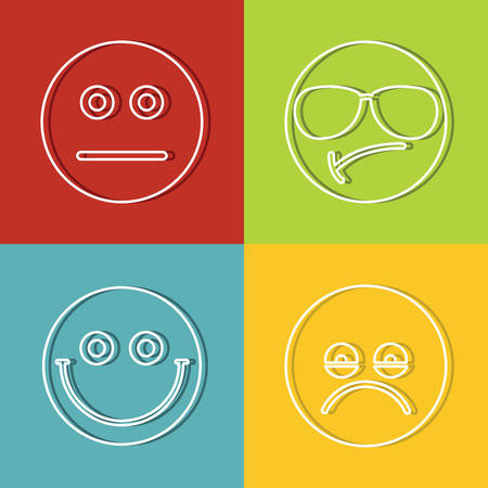 Emoji, emoticons icons in line style on color background with dark shadow. Vector illustration