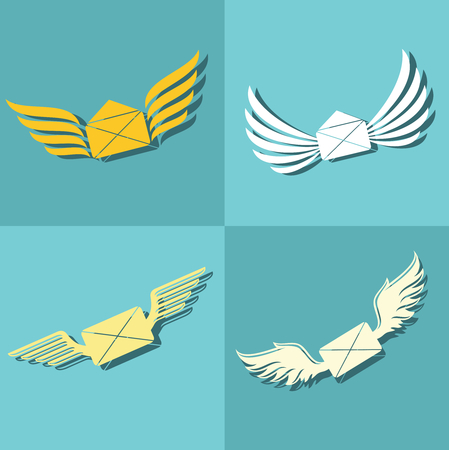 Mail with wings icons on blue background. Delivery message in envelope. Vector illustration Illustration