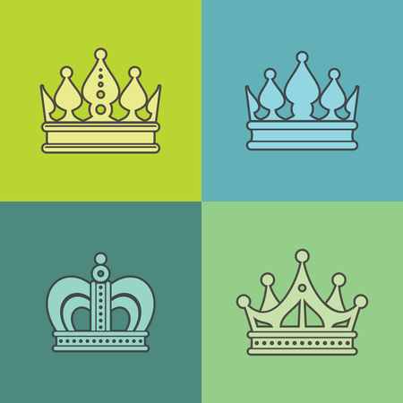 crown of light: Light crown icons on color background. Design crown isolated, vector illustration Illustration