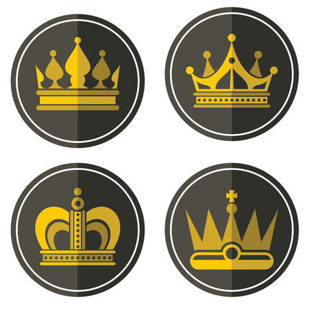 yellow crown: Yellow crown icons on color background. Labels of golden crowns in circle. Vector illustration