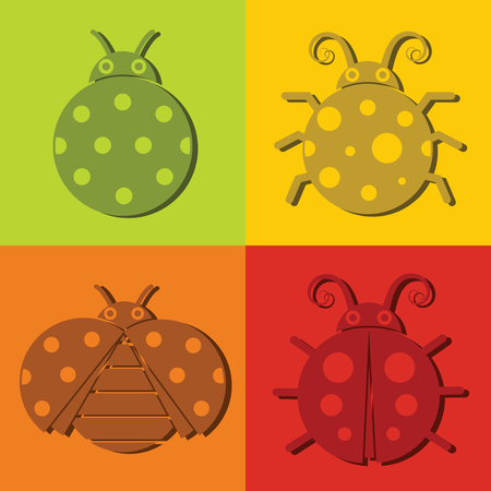 children caterpillar: Ladybug icons with dark shadow isolated on color background. Vector illustration