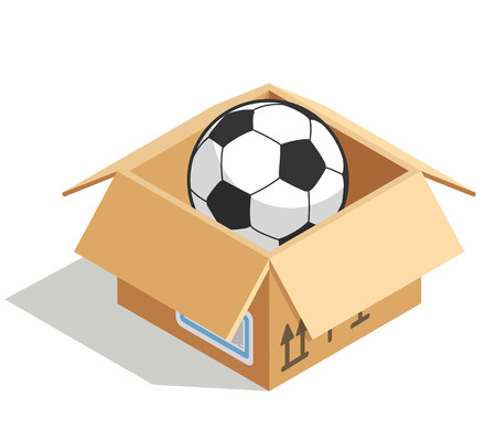 Soccer ball in a box isolated over white. Product for soccer store, vector illustration Illustration
