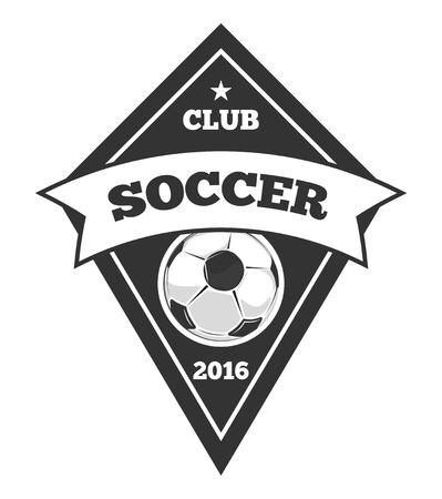 soccer club: Vector soccer template, emblem in black isolated over white. Soccer club monochrome emblem illustration Illustration
