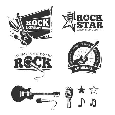 recording studio: Rock music shop, recording studio, karaoke club vector labels, badges, emblems with musical instrument. Guitar and microphone illustration Illustration