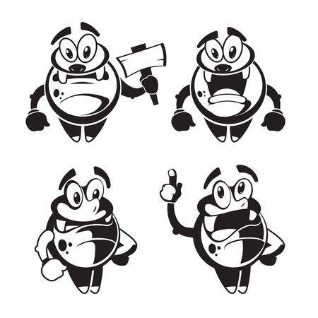 quirky: Funny cute little black quirky monster vector. Happy character friendly with joy face illustration