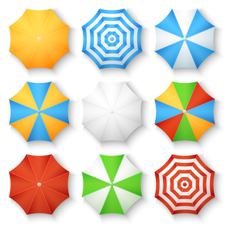 sunshade: Beach sun umbrellas top view vector icons. Set of parasol with colored striped pattern illustration