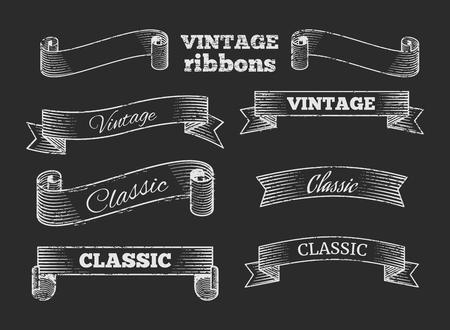 Hand gezeichnet Vektor-Retro-Band-Banner auf Tafel. Set von Template-Vintage-Elemente Illustration