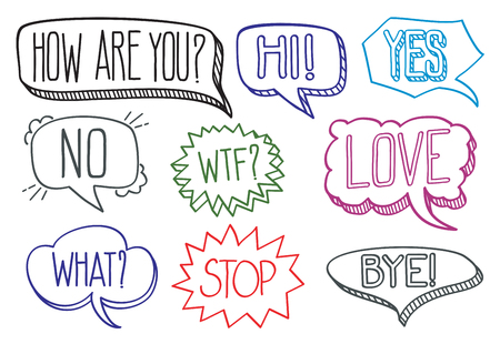 bye: Vintage hand drawn speech bubbles with dialog words hi bye and stop. Vector illustration collection