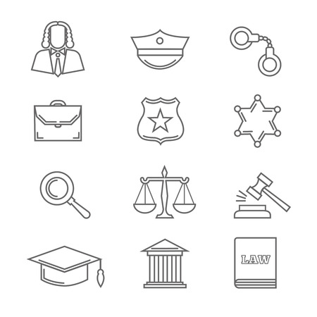 handcuff: Criminal police law and justice vector thin line icons. Handcuff and scale in linear style, court and gavel illustration