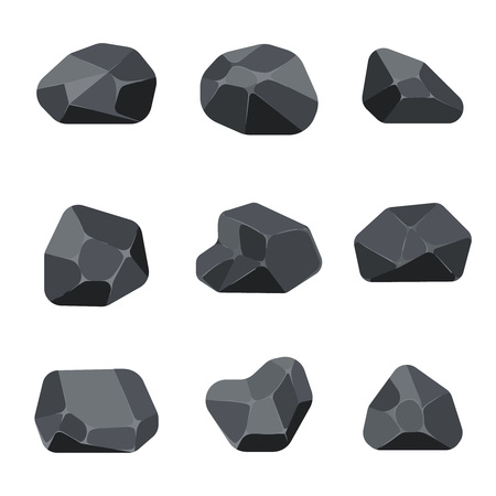 Polygonal stones rock graphite coal elements for computer and app games. Structure angular quartz mineral, vector illustration