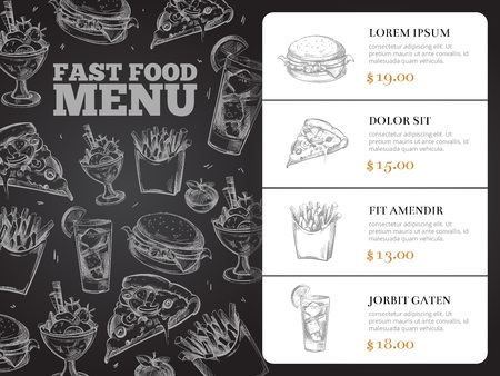 breakfast sandwich: Restaurant brochure vector menu design with hand-drawn fast food. Burger lunch and breakfast, sandwich and pizza illustration