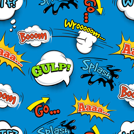 gulp: Vintage comic shout vector seamless pattern. Speech bubble with word and illustration of explosion