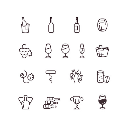 vinification: Wine sommelier winery thin line vector icons. Linear glass goblet and bottle illustration Illustration