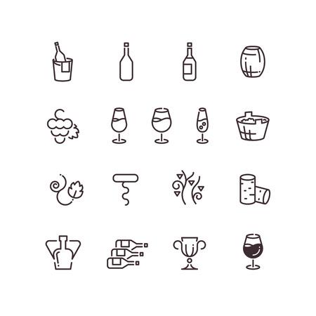 sommelier: Wine sommelier winery thin line vector icons. Linear glass goblet and bottle illustration Illustration