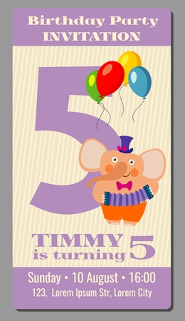 turn of the year: Happy birthday lovely vector card with funny elephant 5 years old. Festive rectangular card with cartoon animal illustration
