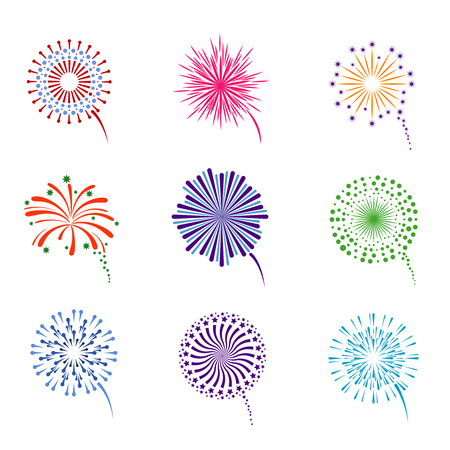 pyrotechnics: Fireworks display vector set. Pyrotechnics for event celebration new year illustration