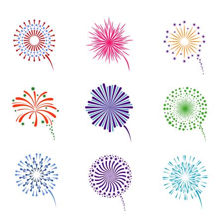 Fireworks display vector set. Pyrotechnics for event celebration new year illustration