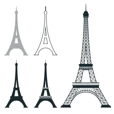 famous place: Different eiffel tower vector landmark set. French architecture monument, famous romantic place illustration Illustration