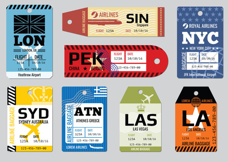 Vintage luggage tags, travel labels vector set. Badge for baggage, cardboard coupon illustration