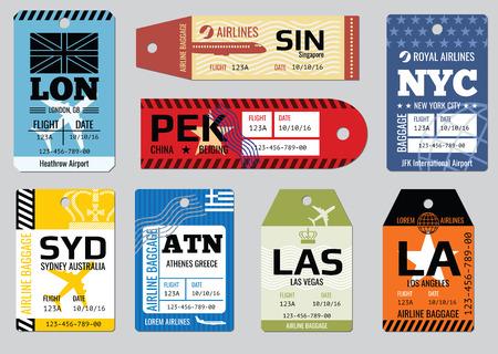 Vintage tagi bagaż, podróż zestaw etykiet wektorowych. Odznaka za bagaż, karton kupon ilustracji Ilustracje wektorowe