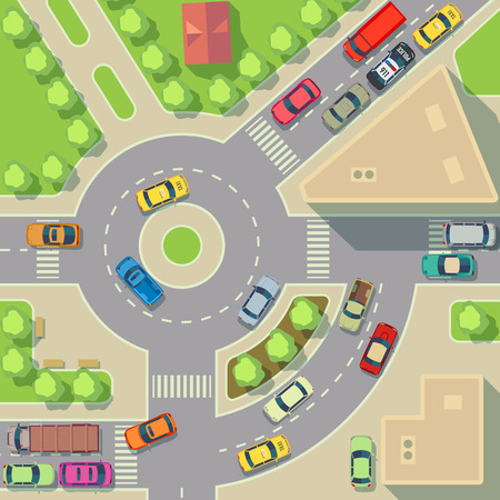houses street: City map with top view cars and houses. Street with active traffic transport, vector illustration Illustration