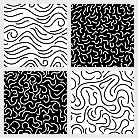 squiggle: Hand drawn marker, ink, line, stroke, squiggle vector seamless patterns. Abstract monochrome background with curve line illustration Illustration