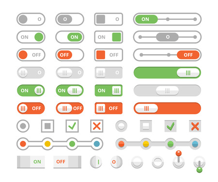 On and off toggle switches, elements of user interface vector. Set of slider and button illustration