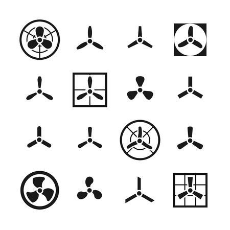 Fans, icônes vectorielles des hélices définies. Ventilateur et refroidisseur électrique avec illustration de lame Vecteurs