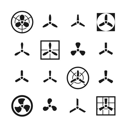 Fans, propellers vector icons set. Ventilator and electric cooler with blade illustration Vector Illustration