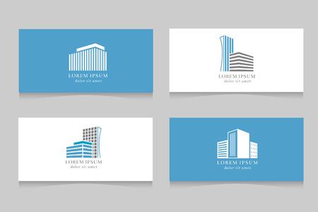 Logo nieruchomości z projekt szablonu wizytówki. Firma logotyp z domem, wektorowa ilustracja