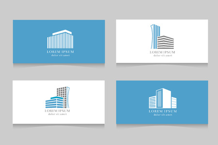 Real estate logo with business card template design. Company logotype with house, vector illustration