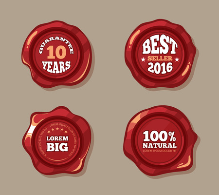 wax glossy: Premium labels on wax seal stamps vector illustration. Vintage badge in red color