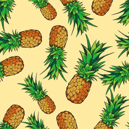 파인애플과 벡터 원활한 열 대 패턴입니다. 맛있는 과일 신선한 그림