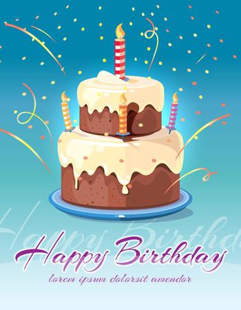 fond Joyeux anniversaire avec le délicieux gâteau et bougies illustration vectorielle. Carte d'invitation et félicitations