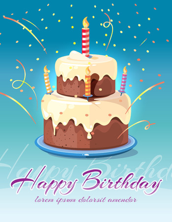 Happy birthday background with tasty cake and candles vector illustration. Card for invitation and congratulation Vectores