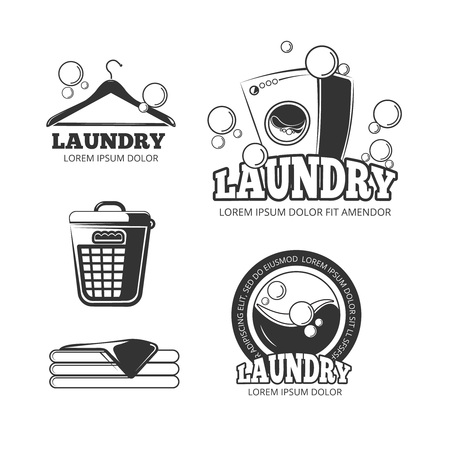 Clean laundry washing vintage vector labels, emblems, badges set. Wash machine and bucket for dirty clothes illustation