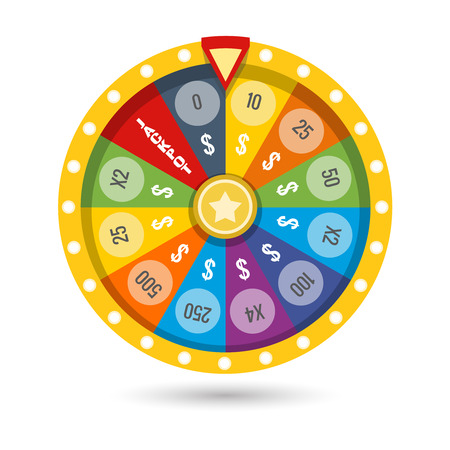 lucky money: Win money jackpot with lucky fortune game colored wheel vector illustration