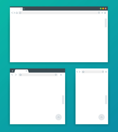 adaptive: Blank browser windows for devices of computer, tablet, and phone. Templates for adaptive responsive web design. Vector illustration