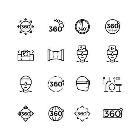 360 degree image, panorama, virtual reality thin line icons. Device for simulation gaming, vector illustration
