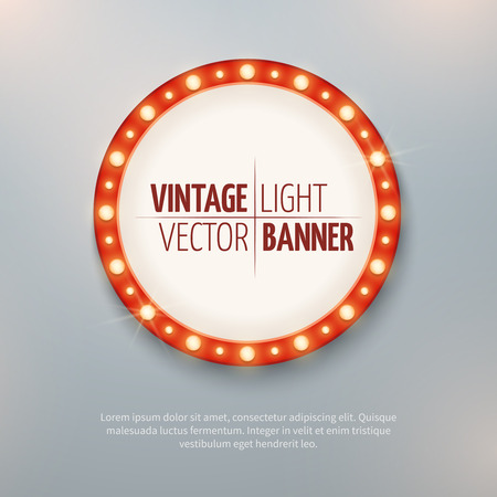 signboard form: Vintage light vector circle banner sign for event decoration. Round illuminated poster, vector illustration
