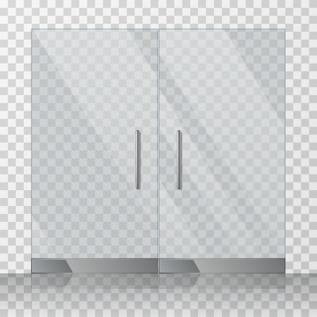 glass doors: Mall, store glass doors for market and fashion boutique, vector illustration
