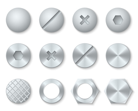 Steel screws, nuts, bolts, rivets heads vector. Set of fixing accessories illustration