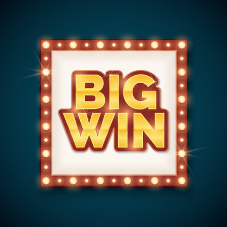 Big win banner with glowing lamps on frame. Template for casino and billboard, vector illustration Illustration